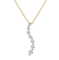 AGS Certified 1/2ct TW Journey Diamond Pendant-Necklace in 10K Gold