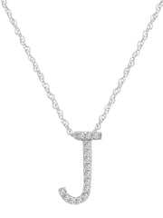 "14K White Gold Diamond ""J"" Initial Pendant, 16"" Necklace"