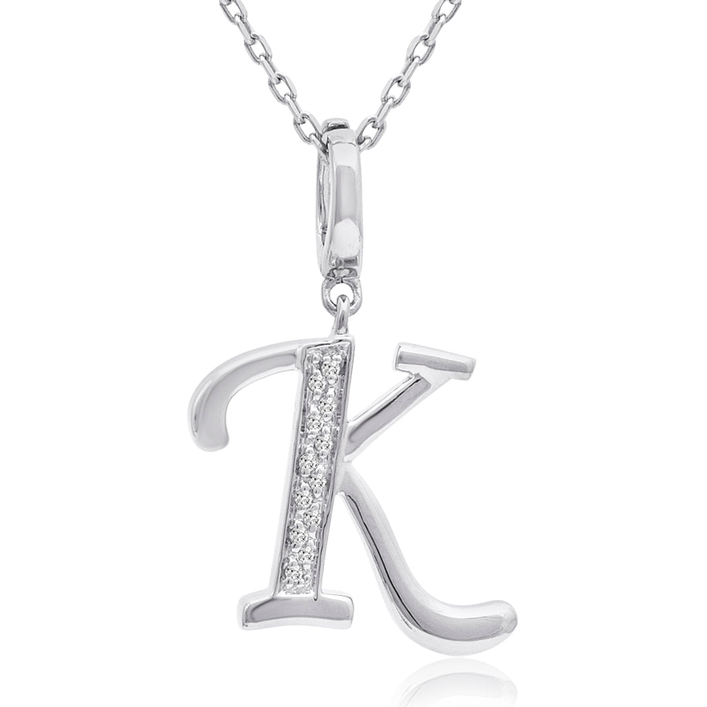 Diamond Initial K Charm Pendant in Sterling Silver on an 18in. Chain , Pendants - MLG Jewelry, MLG Jewelry