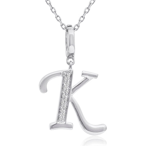 Diamond Initial K Charm Pendant in Sterling Silver on an 18in. Chain