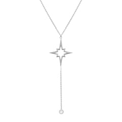 Amanda Rose Star and Cubic Zirconia Lariat Necklace in Sterling Silver on a 16-18 in. Adjustable Chain