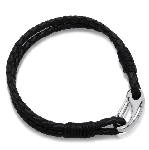 Men's Braided Black Leather Bracelet with a Stainless Steel Clasp 8 inches