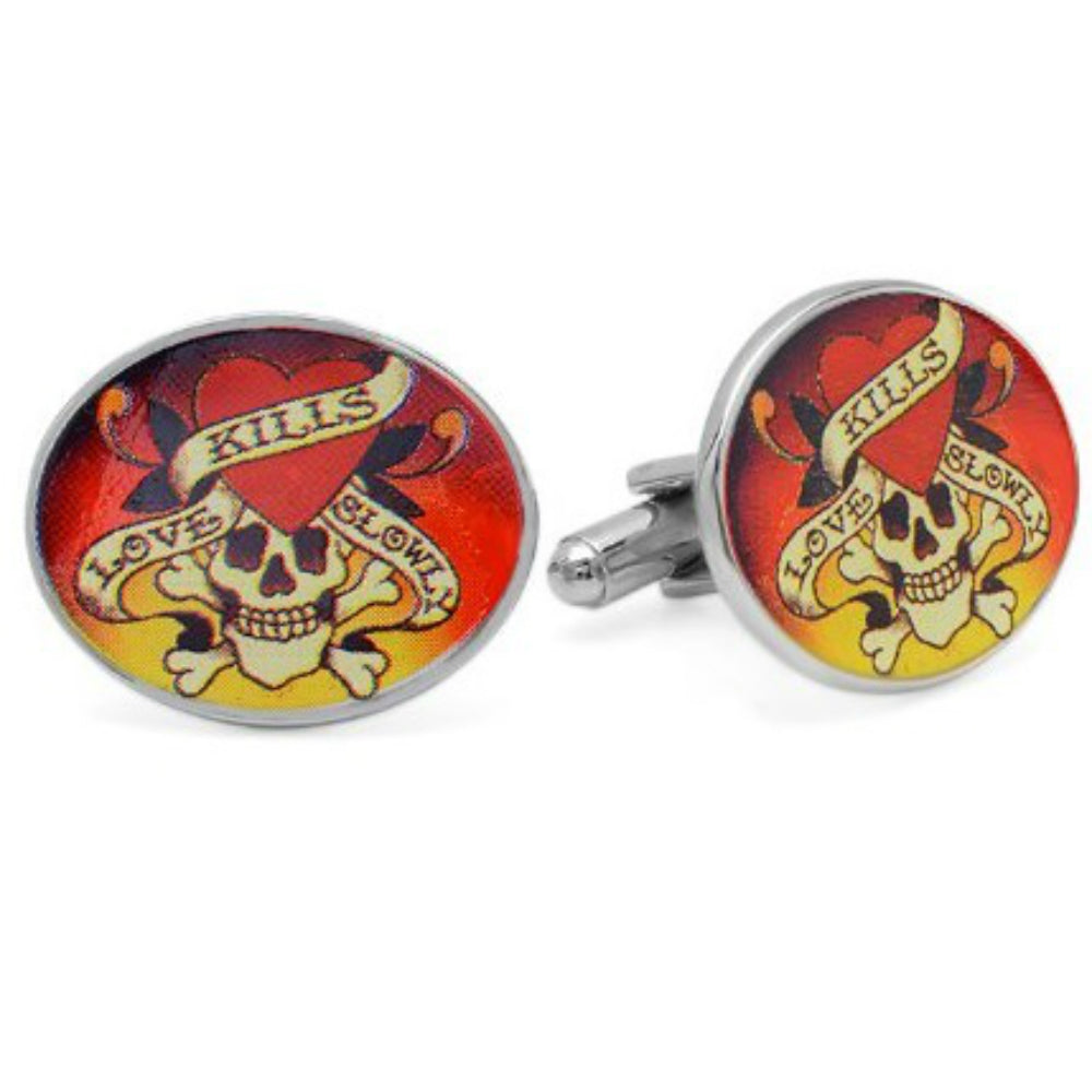 Men's Ed Hardy Love Kills Slowly Cufflinks , Accessories - MLG Jewelry, MLG Jewelry