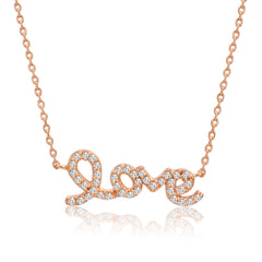 "Amanda Rose Cubic Zirconia Rose Gold Plated Love Necklace in Sterling Silver on a 16-18"" Adjustable Chain"