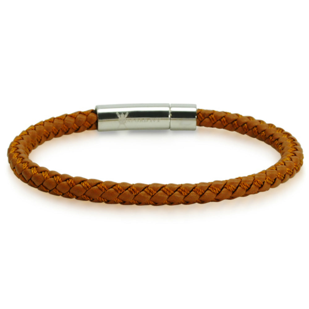 Oxford Ivy  Braided Brown Leather Mens Bracelet 6 mm 8 1/2 inches with Locking Stainless Steel Clasp , Bracelets - MLG Jewelry, MLG Jewelry  - 1