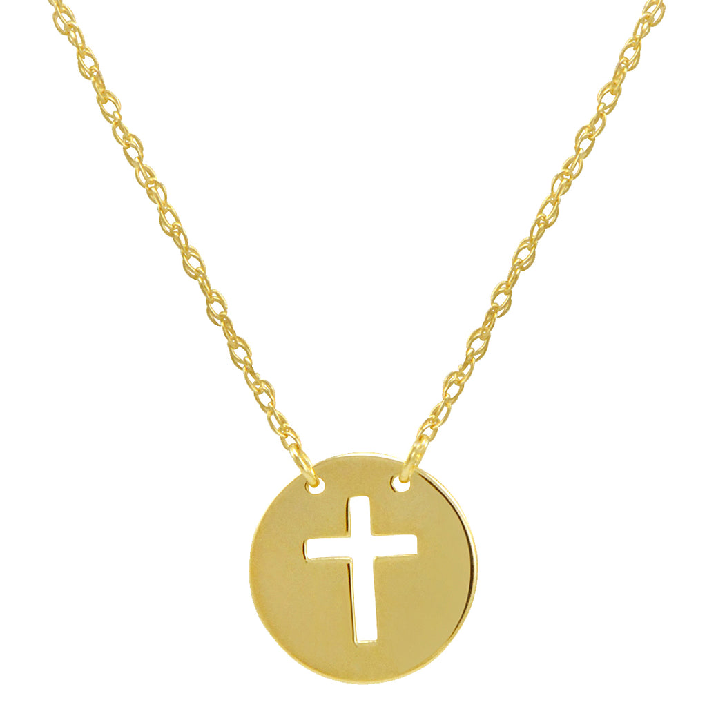 14k Gold Cross Disc Necklace on an Adjustable 16-18 in. Chain