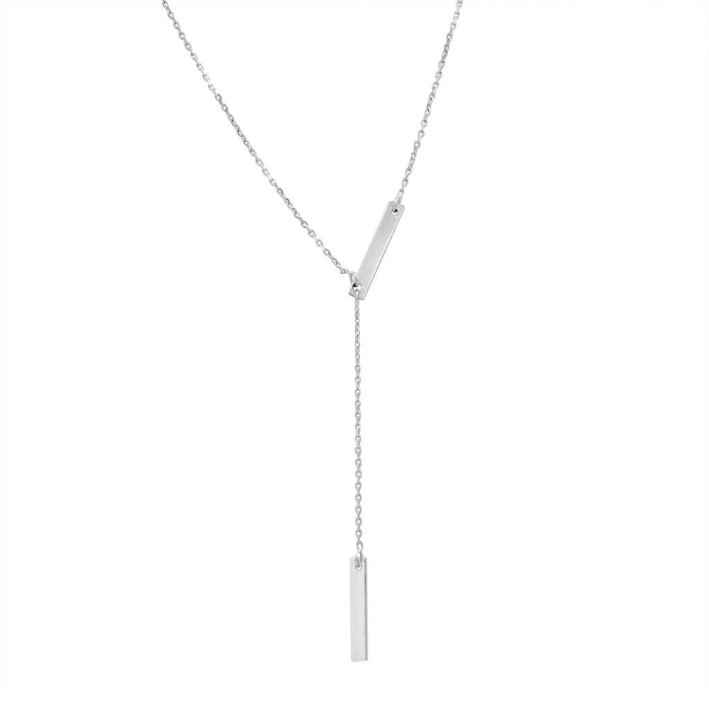Amanda Rose Double Bar Lariat Necklace in Sterling Silver on a 16-18 in. Adjustable Chain , Pendants, trend - MLG Jewelry, MLG Jewelry  - 1