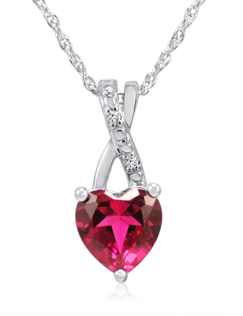 Created Ruby Heart and Diamond Pendant-Necklace in Sterling Silver (1 1/2ct tgw)