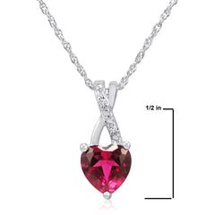 Created Ruby Heart and Diamond Pendant-Necklace in Sterling Silver (1 1/2ct tgw) , Gifts Under $99 - MLG Jewelry, MLG Jewelry  - 2