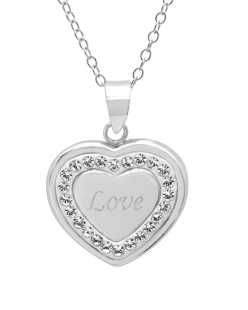 Sterling Silver Crystal Love in Heart Pendant with Swarovski Crystals