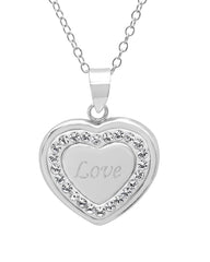 Sterling Silver Crystal Love in Heart Pendant with Swarovski Elements , Gifts Under $99 - MLG Jewelry, MLG Jewelry  - 1