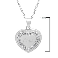 Sterling Silver Crystal Love in Heart Pendant with Swarovski Elements , Gifts Under $99 - MLG Jewelry, MLG Jewelry  - 2