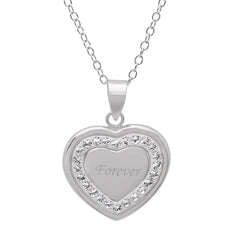 Sterling Silver Crystal Forever in Heart Pendant with Swarovski Crystals