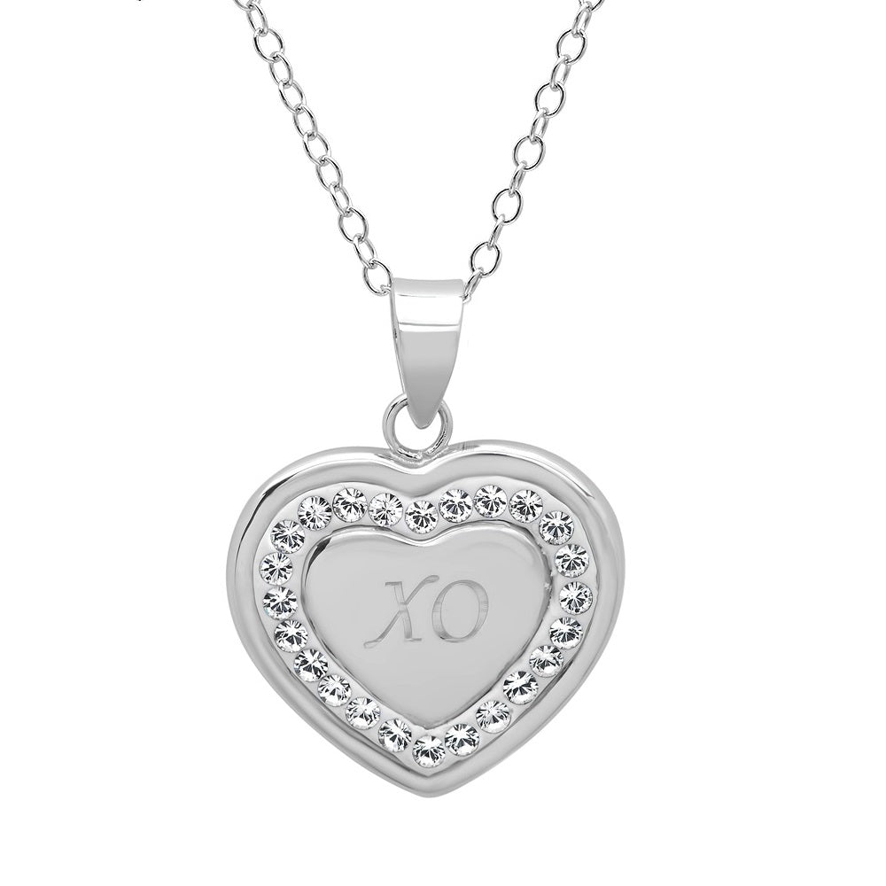 aa917034cd30 Sterling Silver Crystal X-O in Heart Pendant with Swarovski Crystals ...