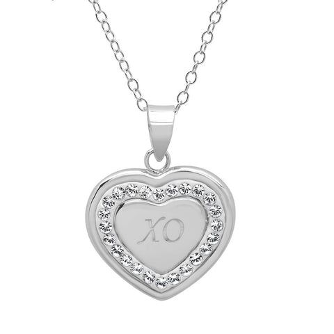 Sterling Silver Crystal X-O in Heart Pendant with Swarovski Crystals