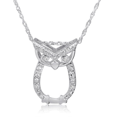 Sterling Silver Diamond Owl Pendant-Necklace on an 18inch Chain