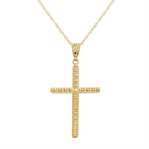 14k Gold Diamond Cut Cross Pendant Necklace on an 18 in. chain