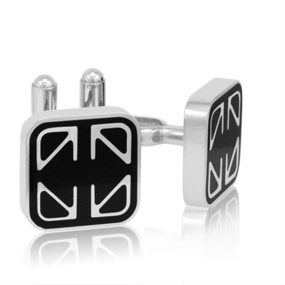 Mens Classic Stainless Steel and Black Enamel Cuff Links , Accessories - MLG Jewelry, MLG Jewelry  - 1