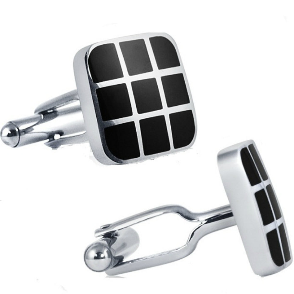 Mens Classic Stainless Steel Cufflinks with Black Enamel , Mens - MLG Jewelry, MLG Jewelry  - 1