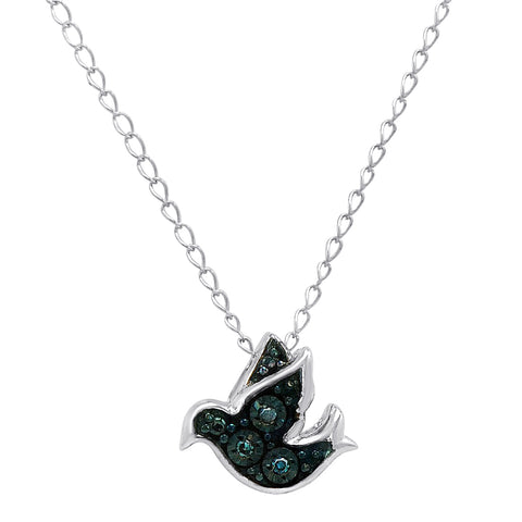 Blue Diamond Dove Pendant in Sterling Silver on a 17in. Chain