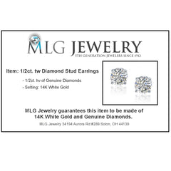1/2ct tw.Round Diamond Stud Earrings set  in 14K White Gold