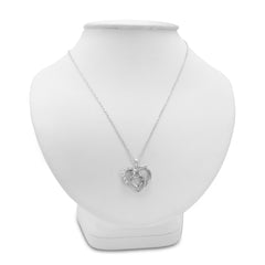Sterling Silver Mother and Child Diamond Heart Pendant-Necklace on an 18 inch Chain , Pendants - MLG Jewelry, MLG Jewelry  - 3