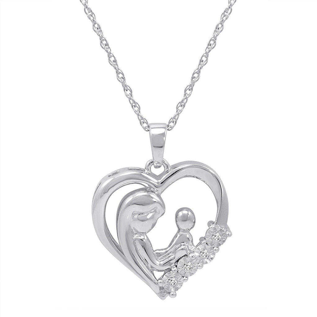 Mother and Child Diamond Heart Pendant in Sterling Silver on an 18 inch Sterling Silver Chain , Pendants - MLG Jewelry, MLG Jewelry  - 1