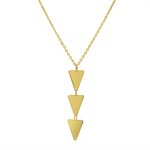 Amanda Rose Triple Triangle Pendant-Necklace in 14k Yellow Gold on an 18 in. Chain