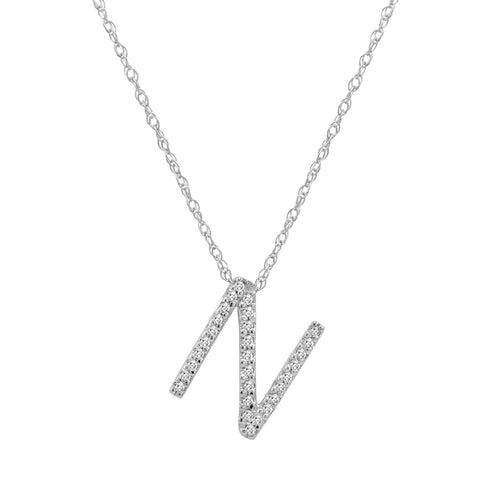"14K White Gold Diamond ""N"" Initial Pendant, 16"" Necklace"