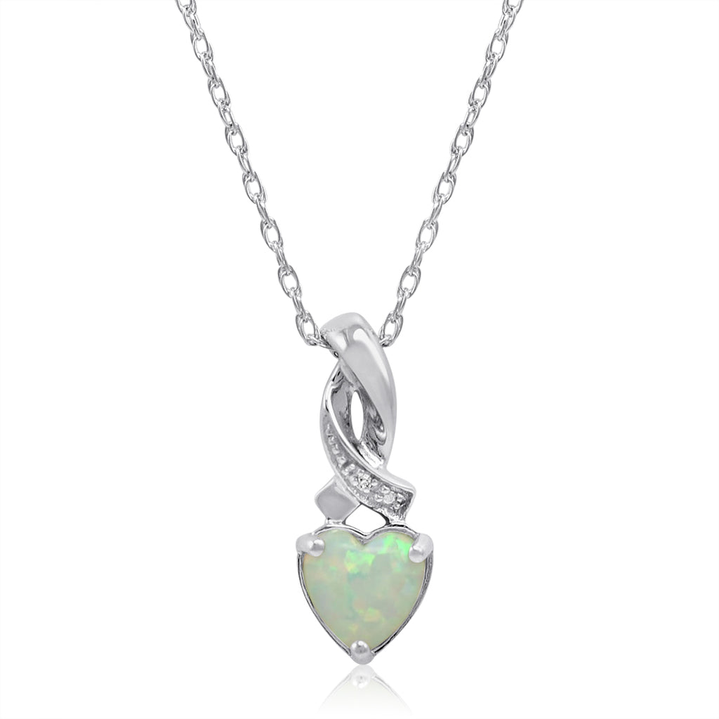 Heart Shape Created Opal and Diamond Pendant-Necklace  in Sterling Silver , Gifts Under $99, Pendants - MLG Jewelry, MLG Jewelry  - 1