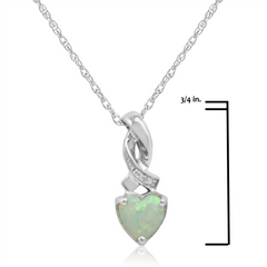 Heart Shape Created Opal and Diamond Pendant-Necklace  in Sterling Silver , Gifts Under $99, Pendants - MLG Jewelry, MLG Jewelry  - 3