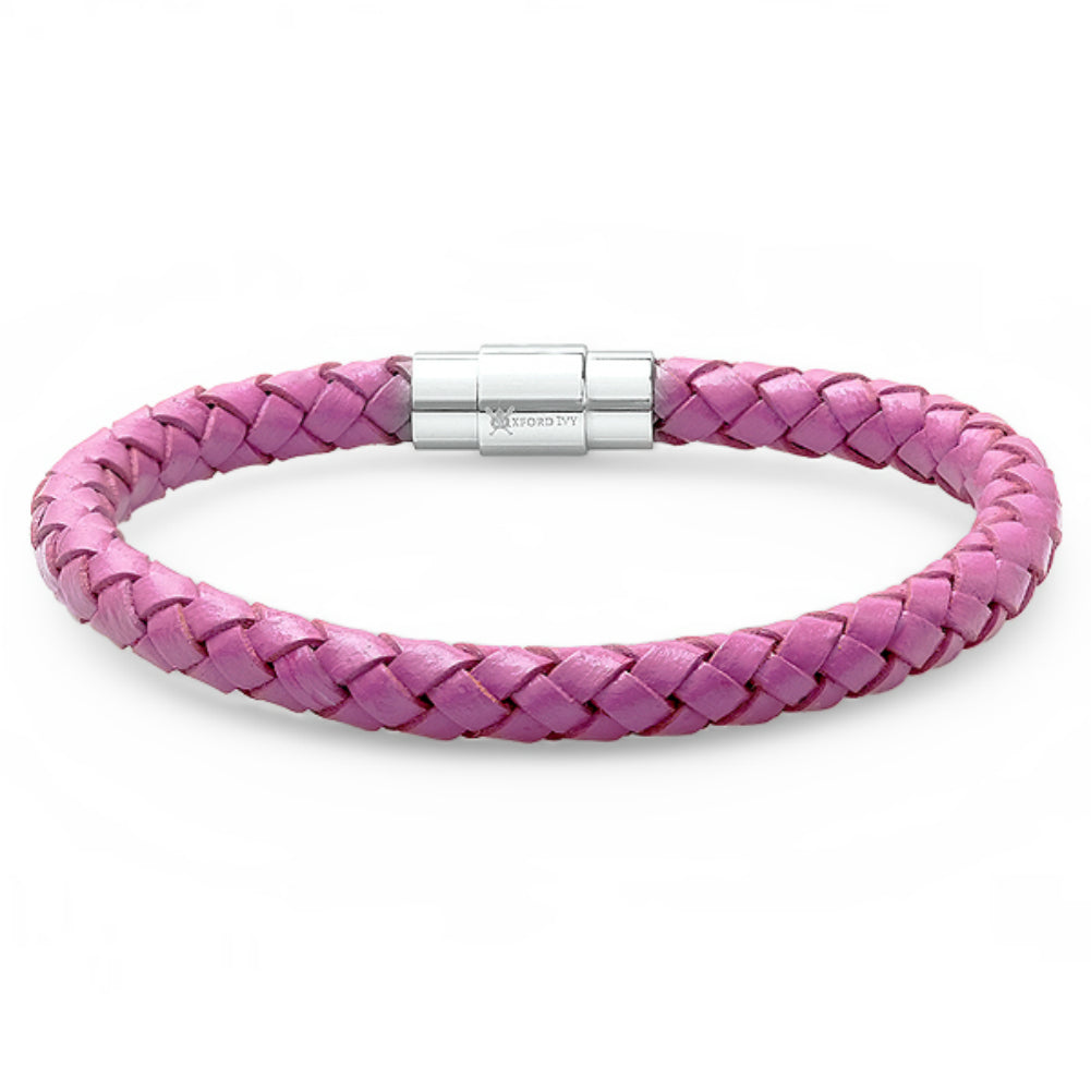 Oxford Ivy Lavender Braided Leather Bracelet - Stainless Steel Locking Magnetic Clasp (7 1/2 inch) , Bracelets - MLG Jewelry, MLG Jewelry