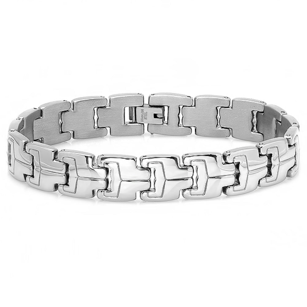 Oxford Ivy Mens Stainless Steel Patterned Link Bracelet 8 1/4 inch , Bracelets - MLG Jewelry, MLG Jewelry