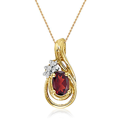 "14K Yellow Gold Oval Garnet and Diamond Teardrop Pendant (1/2ct tgw 18"" Chain)"