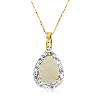 "14K Yellow Gold Opal Pear Shape  Pendant (1/3ct. 18"" chain) , Pendants - MLG Jewelry, MLG Jewelry"