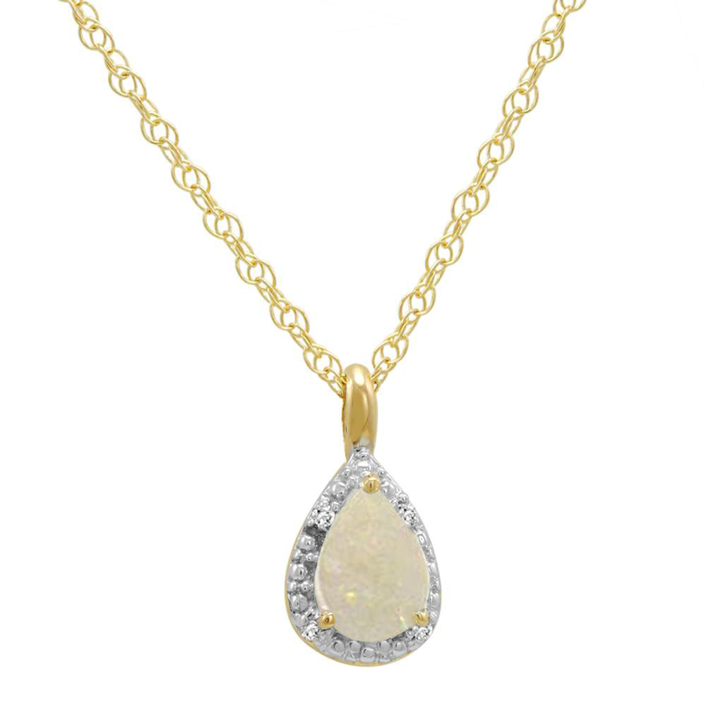 "14K Yellow Gold Opal Pear Shape  Pendant (1/3ct. 18"" chain)"