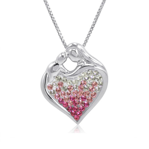 Sterling Silver Pink Ombre Crystal Mom and Child Heart Pendant with Swarovski Crystals