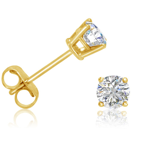 AGS Certified 1/2ct tw Round Diamond Stud Earrings in 14K Yellow Gold