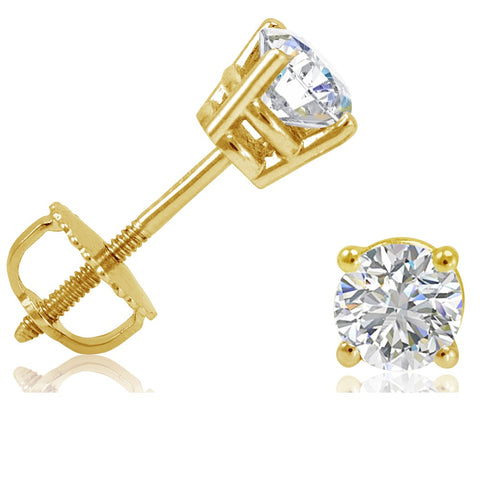 1/2ct tw IGI Certified Diamond Stud Earrings in 14K Yellow Gold with IGI Gift Box