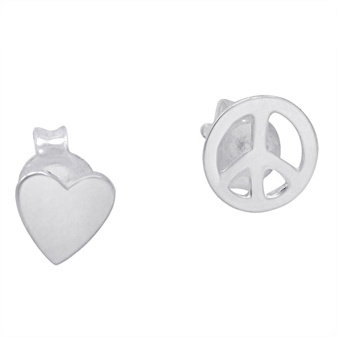 Amanda Rose Sterling Silver Heart and Peace Sign Earrings