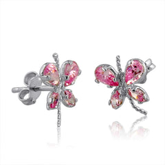 Pink Ice Butterfly Earrings set in Sterling Silver 1ct tgw.