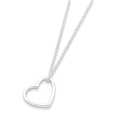 Amanda Rose Sterling Silver Floating Heart Pendant-Necklace on a 16 in. Adjustable Chain