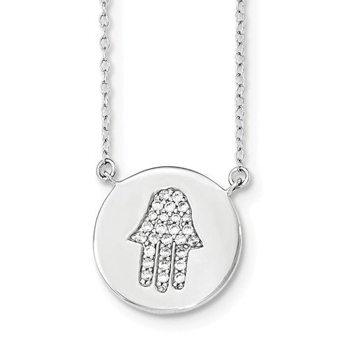 Amanda Rose Sterling Silver Cubic Zirconia Hamsa Necklace with  16-18 in. Adjustable Chain , trend, Pendants - MLG Jewelry, MLG Jewelry  - 1
