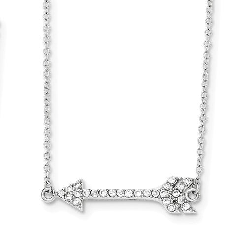 Amanda Rose Sterling Silver Arrow CZ Necklace