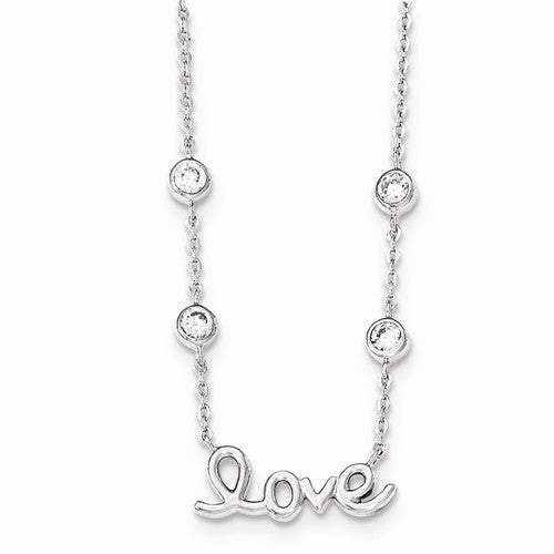 Amanda Rose Sterling Silver Love Necklace with Bezel Set Cubic Zirconias on 16 inch Adjustable Chain