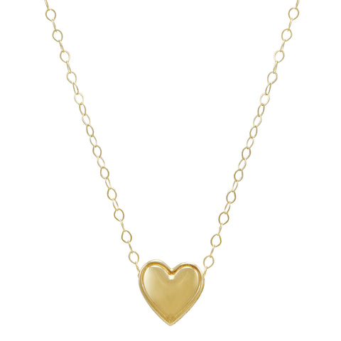 Amanda Rose 10K Yellow Gold Heart Necklace on a 17 in. Chain