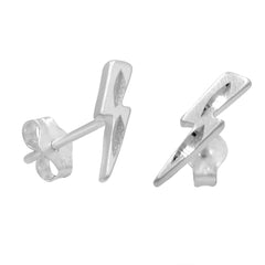 Amanda Rose Sterling Silver Lightning Bolt Post Earrings