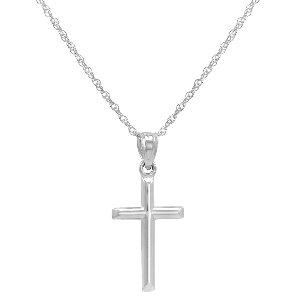 14k White Gold Petite Cross Pendant Necklace on an 18 in. chain