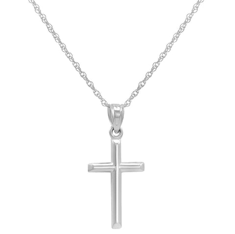 14k White Gold Cross Pendant Necklace on an 18 in. chain