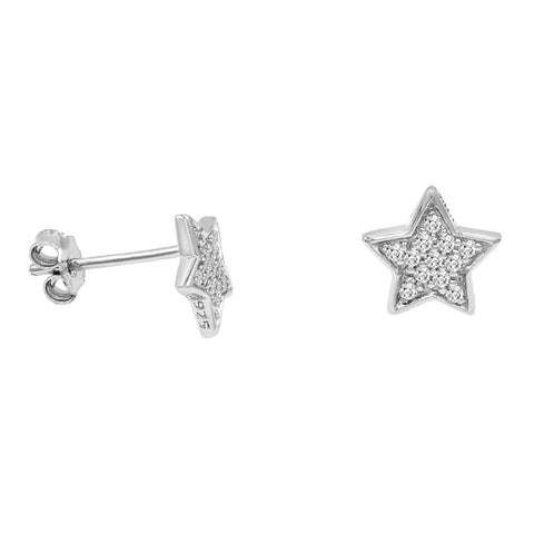 Amanda Rose Sterling Silver CZ Star Earrings
